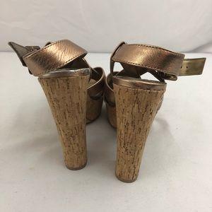 305fe8759d Vince Camuto Shoes - VINCE CAMUTO BRONZE Metallic Cork Heeled Sandals